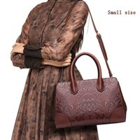 Wholesale Chinese Genuine Leather Handbags - Women leather handbags high quality real cow genuine leather bags 2017 new chinese style floral shoulder bag casual tote bag