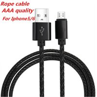 Wholesale Iphone5 Cords - Rope Micro USB Cable for Iphone5 6 Cord Adapter for smartphone Sync Charge universal smartphone DHL