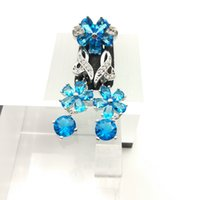 Sky Blue Gems Flower Style Topaz Conjuntos de jóias para mulheres Sterling Silver 925 Drop Earrings / Ring Sizes 7/8/9 Free Jewelry Box B
