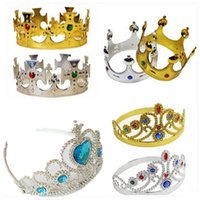 Chapeaux de luxe King And Queens Crown Cosplay Holloween Party Birthday Princess Chapeaux Or Silver Crown IC649