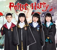 Wholesale Female Child Stars - Free Shipping 4 styles Harry Potter Kids Cosplay Cloak Robe Cape Halloween Gift Cosplay Costume for children