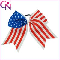 """Wholesale Sequin Elastic Wholesale - 15pcs lot 8"""" Big Sequin Cheer Bows 4th of July Cheer Bow With Elastic Hair Band Girls Sequin Hair Accessories"""