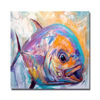 pintura al óleo de pescado enmarcada al por mayor-1 Panel Abstracto Pintura Al Óleo de Pescado en la Lona Home Wall Decor Sala de estar Pared de Imágenes Pintura Al Óleo hecha a mano Animal Art No enmarcado