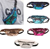 Wholesale Hip Zip Wholesale - Mermaid waist bag sequins Glitter Festival Waist Bum Bag Pouch Hip Purse Glitter Travel Hip Purse Zip Pouch Shoulder Bags LJJK741