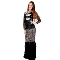 Wholesale Sexy Leather Maxi Dresses - Sexy Lace Mermaid Maxi Dress New Design Women Embroidery Gold Floral Peplum Vinyl Leather Patchwork Celebrity Party Dress S-2XL WB009001