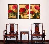 Wholesale beautiful flower art painting for sale - Group buy Modern Beautiful Flower Fine Floral Painting Giclee Print On Canvas Home Decor Wall Art Set30297