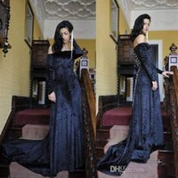 Wholesale Sexy Backless Costume - 2017 New Velvet Off Shoulders Halloween Costumes Evening Dresses Long Sleeves Vestidos De Fiesta Arabic Style Custom Made Prom Pageant Gowns