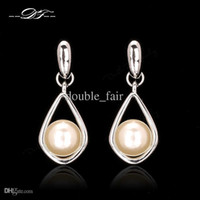 2015 New Party Water Drop Earrings Platinum Plated / White Gold Plated Fashion Brand Romantic Pearl Beads Jóias para mulheres DFE423