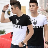 Wholesale Black Big Collar Shirt - Men's Short Sleeve T-shirt Maserati Printing Big Yards of Cultivate One's Morality Cotton Round Collar and A Half Sleeve T-shirt Coat