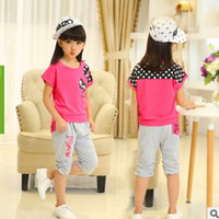 Wholesale Girl Christmas Coat - Spring Summer 2016 New Girls Fashion Leisure Clothing Sets Kids Clothes Sports Sets Children's Clothing Sets 4 Color 2 Piece ly031