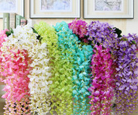 Wholesale Artificial Wedding Bouquets Purple - Artificial ivy flowers Silk Flower Wisteria Vine flower Rattan for Wedding Centerpieces Decorations Bouquet Garland Home Ornament IF01