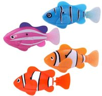 Wholesale Bath Drops - Lovely Robo Fish Water Activated Battery Powered Robofish kids Clownfish Bath Toys children Robotic Fish Electronic pet drop shipping