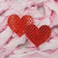Wholesale Heart Shaped Nipple Covers - Sexy Sequin Nipple Covers with Heart Shaped Breast Nipple Covers New Fashion Sexy Pasties 1 Pair
