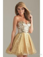 Wholesale Sweetheart Glitter Sequin Short Dress - Sexy sequined homecoming dresses sweetheart a-line knee length short gold homecoming dresses tired glitter homecoming dress
