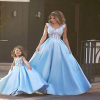 Wholesale mother girls pageant dresses for sale - Group buy Cute Glitz Light Blue Flower Girl Dresses For Arabic Weddings Mini Me Mother Daughter Pageant Dresses Formal Holy Communion Dresses BA1763