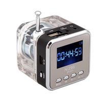 mp3 usb mini dijital hoparlör toptan satış-Dijital Taşınabilir Mini Hoparlör Müzik MP3 / 4 Oyuncu Mikro SD / TF USB Disk Hoparlör FM Radyo LCD Ekran