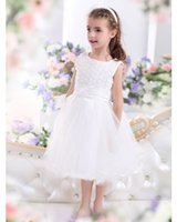 Wholesale Discount Pageant Gowns For Kids - Kid Gown Scoop Short Formal Glitz Pageant With Elegant Lace Discount Infant Flower Girl Dresses For Wedding