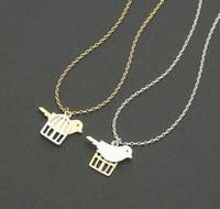 Wholesale Mixed Birds Pendant - Fashion birds and bird cage pendant necklace, golden mixed silver pendant necklaces wholesale free shipping