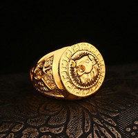 Wholesale Lion Head Rings For Men - High quality HIP HOP lion head ring Men's liion face Ring 24K GP Yellow Gold Ring for Men Size 7, 8,9 10,11