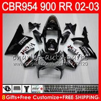 Wholesale Honda 954 Fairing Black - Body For HONDA CBR900RR CBR954 RR CBR954RR 02 03 CBR900 RR TOP 66NO2 Black west CBR 900RR CBR 954 RR CBR 954RR 2002 2003 Fairing kit 8Gifts