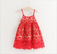 Wholesale Babies Singlets - New 2016 Baby Girls Crochet Lace Dresses Babies Hallow Out Princess Dress Girl Summer Singlet Dress Children's Wholesale Clothing