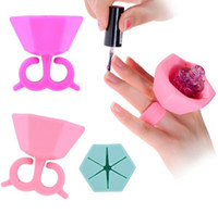 Wholesale Nail Polish Stands - 5.3cm Nail Polish Bottle Holder Silicone Nail Gel Polish Holder with Ring Creative Nail Art Tools Polish Varnish Bottle Display Stand Holder