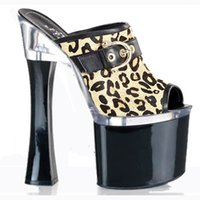 Wholesale Womens Super High Heels - Sexy Womens Super Leopard Print The Temptation Fashion Open Toe 18cm High-Heeled Shoes 7 Inch Fashion Platforms Stripper Shoes