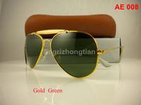 Wholesale Male Case - 1Pair Excellent Quality Men Male Designer Pilot Sunglasses Outdoorsman Sun Glasses Eyewear Gold Golden Green 62mm Glass Lenses With Box Case