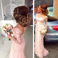Wholesale Mermaid Flower Wedding Gowns - Sexy Pink Lace Bridesmaid Dresses Arabic Sweetheart 3D Flowers Long Sleeves Mermaid Formal Prom Dress 2017 Wedding Party Gowns