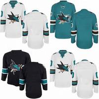 Wholesale Blue Shark Size - Factory Outlet Mens Cheap Best San Jose Sharks BLANK Hockey Jersey GREEN BLACK,Authentic BLANK San Jose Sharks Sport Jersey,Size 46-56