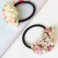 Wholesale Elastic Flower Ponytail Holder - 1pcs Fashion Women Hair Accessories Semi-circle Pearls Beads Flower Headbands Gum for Hair Scrunchie Ponytail Hair Elastic Bands