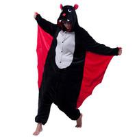 Wholesale Vampire Bat Costumes - New Vampire Bat Costume Onesies Adults Black Bat Man Women s Evil Bat Cosplay Onesies Halloween Party Costumes Cartoon Animals Bat jumpsuit