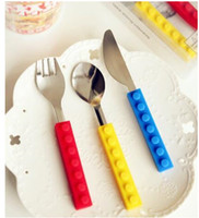 Wholesale Cutlery For Kids - Wholesale New Lego bricks silicone stainless steel Portable Travel Kids Adult Cutlery Fork Spoon Picnic Set Gift for Child Dinnerware