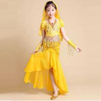 Wholesale Yellow Dance Costumes - 2016 Girls Indian Dance Costumes Red Rose Yellow Kids Costume For Belly Dance 2pcs 6pcs Children Dancewear Belly Dancing DQ2008