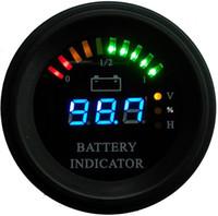 манометры оптовых-Круглый корпус Линия дуги Светодиодный цифровой индикатор уровня заряда аккумулятора Индикатор часового индикатора состояния зарядки погрузчика, EV, 24 В 36 В 48 В 60 В до 200 В