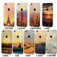 Wholesale London Iphone Case 4s - Natural landscape Rubbery Case for iphone x 10 8 7 6s Plus 5S 5C 4S Effiel Tower Paris London City Capinhas COVER CASE