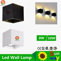 Wholesale Dimmable Led Wall - Dimmable 8W   10W Surface Mounting Cube led Wall Lamp Outdoors Adjustable IP65 led Outdoors Lamp Wall Up and Down Wall Light