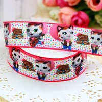 """Wholesale Hairbows Supplies - 7 8"""" 22mm Sewing Supplies Cartoon Cat Dots Printed Grosgrain Ribbon Girl HairBows Diy Materials Event Decos A2-22-1958"""