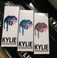 Wholesale Cosmetic Gift Sets Wholesale - 2017 kylie cosmetics Lipgloss with lip liner Lip Kit 38 Colors kylie jenner Brand Velvetine Liquid Matte Lipsticks Lip Gloss Set Gift