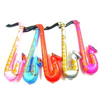 Wholesale Inflatable Saxophones - 20PCS Inflatable Jazz Instrument Sax Musical Fancy Party Decoration Blow Up Saxophone Hot
