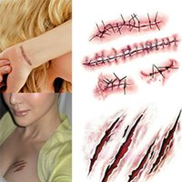 Wholesale Scar Tattoos - 2016 Halloween Zombie Scars Tattoos With Fake Scab Bloody Costume Makeup Halloween Decoration Terror Wound Scary 21 Colors Sticker
