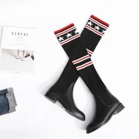 Wholesale Stock Brand Shoes - 2017 Winter Luxury Brand Designer Shoes Women Stock Knee Boots Fashion Rivet Boots Free Shipping US Size 4-10