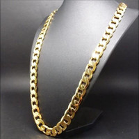 Wholesale 14k Cuban - Men's 14K Yellow Gold Plated 24 Inches Cuban Link Chain Necklace 10 mm