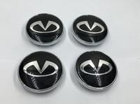 radmittenkappen embleme großhandel-2017 auto styling 4 Teile / los Radmitte Cap Emblem Für Infiniti Logo 60mm Radkappe Abzeichen Auto Styling Silber / Schwarz