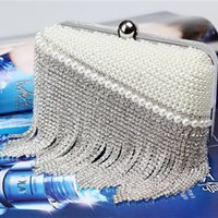 Wholesale Silver Prom Handbags Clutches - Bling Bling Bridal Hand bags Crystal Evening Prom Bags 2016 Clutches Elegant Silver Bride Accessories In Stock Free Shipping Open