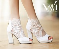 Wholesale White Proms Shoes - 2015 New Fashion Peep Toe Summer Wedding Boots Sexy White Lace Prom Evening Party Shoes Bridal High Heels Lady Formal Dress Shoes
