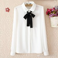 Wholesale Women Wear For Office Blouse - New products New blouses for women fashion elegant bow tie white blouses chiffon casual shirt office wear Ladies tops blusas femininas women