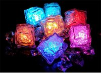 Wholesale Christmas Decoration Lighted Ice Cubes - Aoto colors Mini Romantic Luminous Cube LED Artificial Ice Cube Flash LED Light Wedding Christmas Decoration Party D905