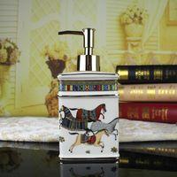 Wholesale Horse Bathroom - Ceramic soap dispenser ivory porcelain god horse design hand liquid soap dispensers liquid soap dispenser bathroom lotion bottle luxury gift