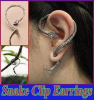Wholesale Snake Ear Wraps Wholesales - Vintage Silver & Bronze Metallic Punk Snake Ear Cuff Clip Earrings for Women Fashion Piecing Jewelry Ear Wrap for Girls Ear Cuff Jewelry
